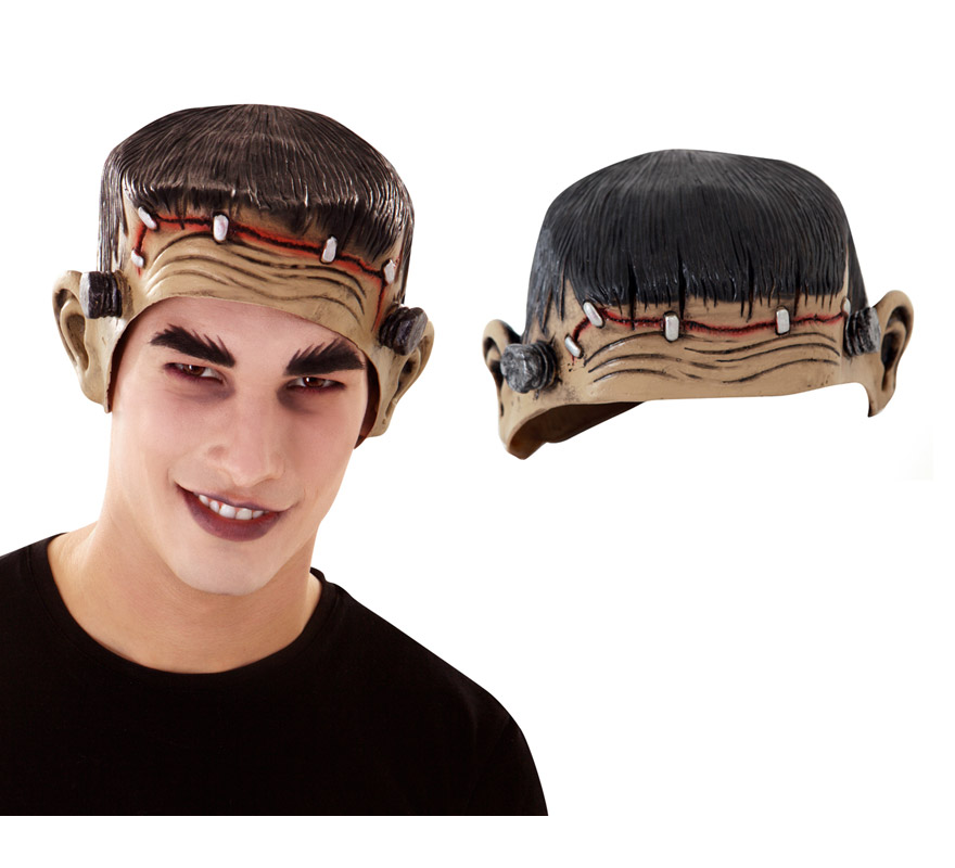 Máscara o Casquete de media cabeza de Frankenstein ideal para Halloween.