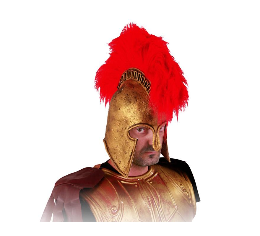 Casco Romano de latex dorado con cresta roja. Perfecto para los disfraces de Espartano, Centurión Romano, etc. Éste es el símbolo de Jorge Lorenzo.