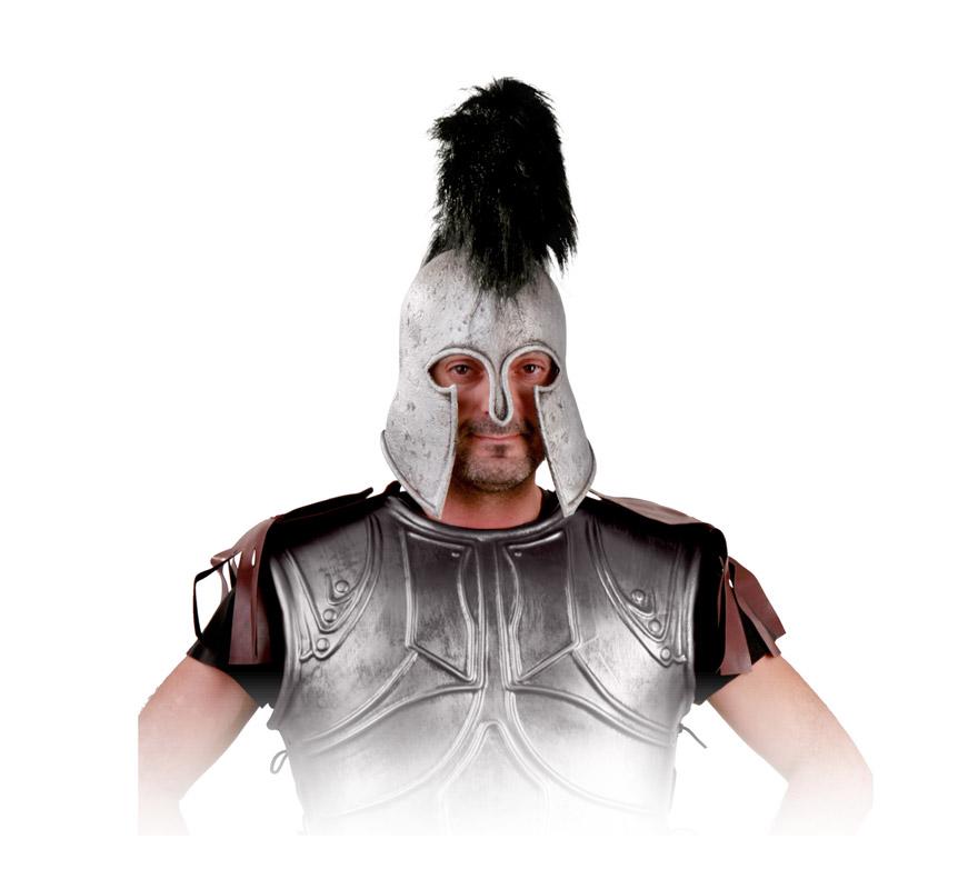 Casco Romano de latex plateado con cresta negra. Perfecto para los disfraces de Espartano, Centurión Romano, etc. Éste es el símbolo de Jorge Lorenzo.