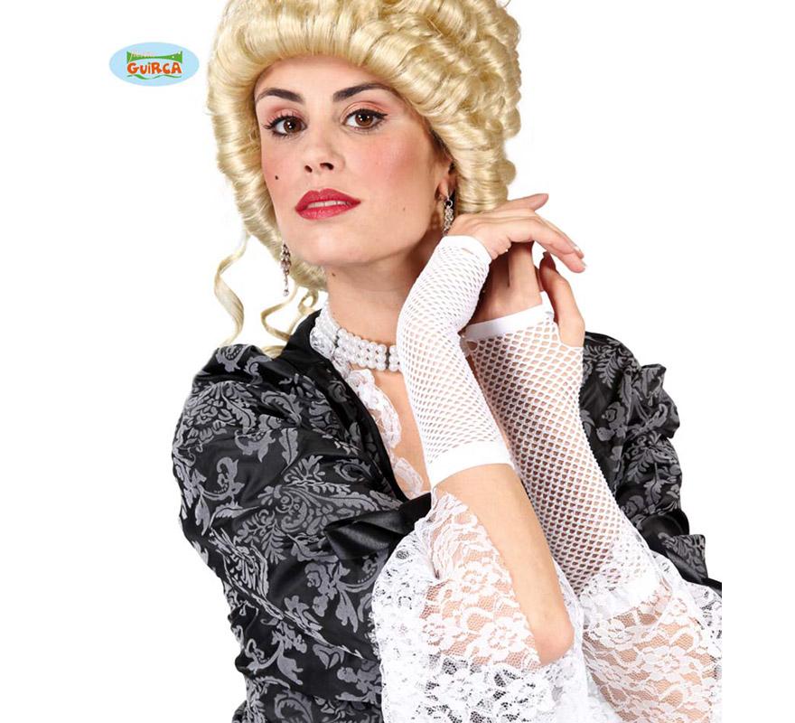 Guante malla blanco de 20 cm. Perfecto como complemento del disfraz de Novia Cadáver.