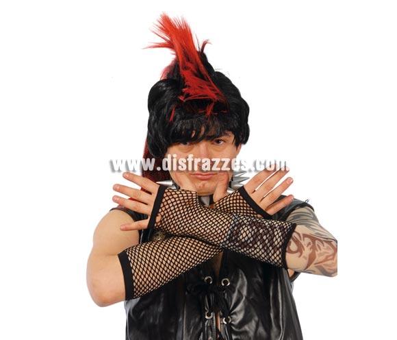 Guante malla negros de 20 cm. Ideal como complemento de tu disfraz de Punk o Sado.