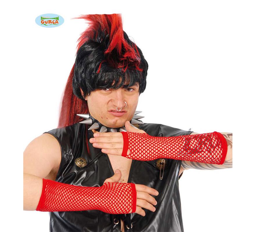 Guante malla rojo de 20 cm. Perfecto como complemento de cualquier disfraz de Diablesa.