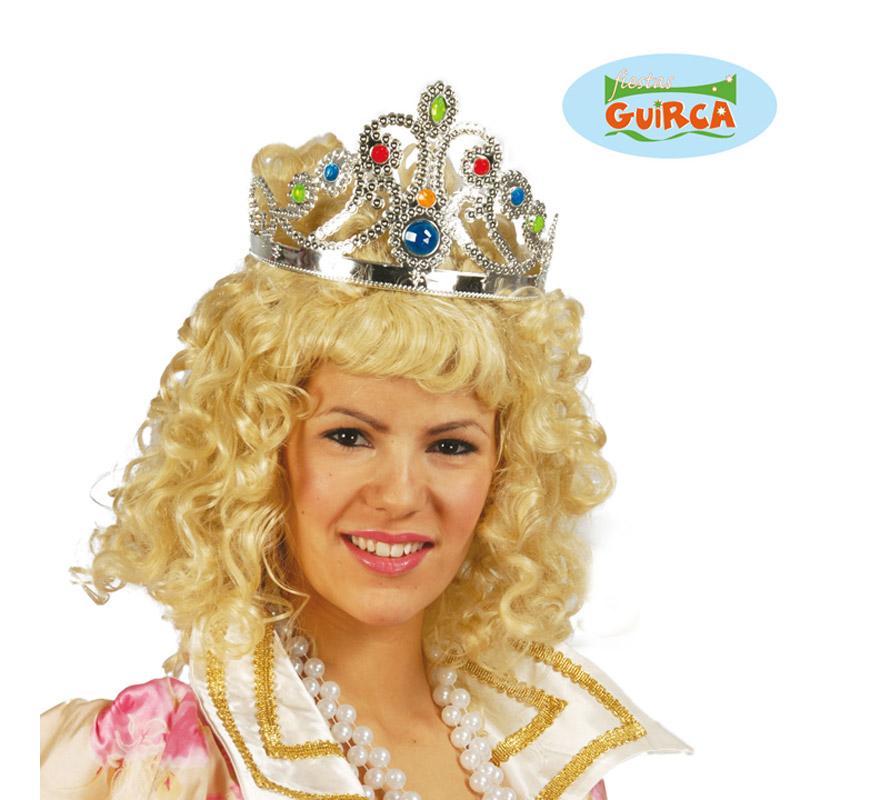 Corona o Diadema de Reina de color plata. Ajustable. El complemento perfecto para disfraces de Reina o Princesa.