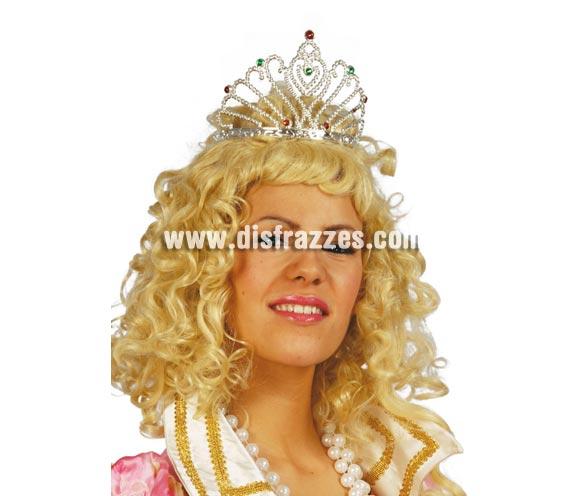 Diadema o Tiara de Reina de color plata. El complemento perfecto para disfraces de Reina o Princesa.