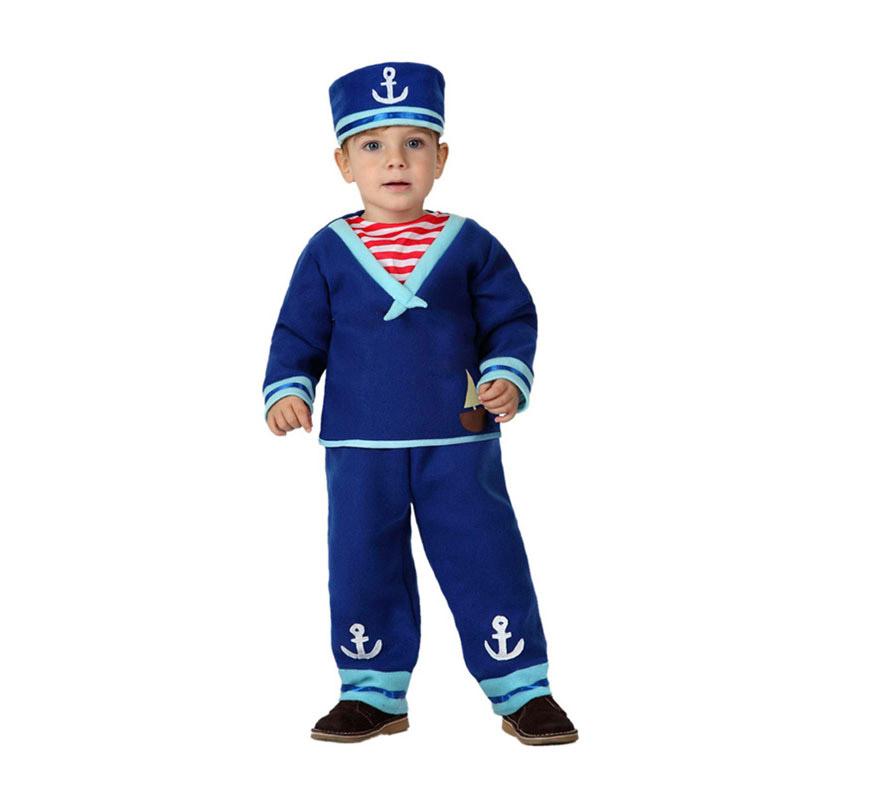 Disfraz de Marinero o Marinerito con ancla para bebés de 12 a 24 meses. Incluye pantalón, camiseta y gorro.