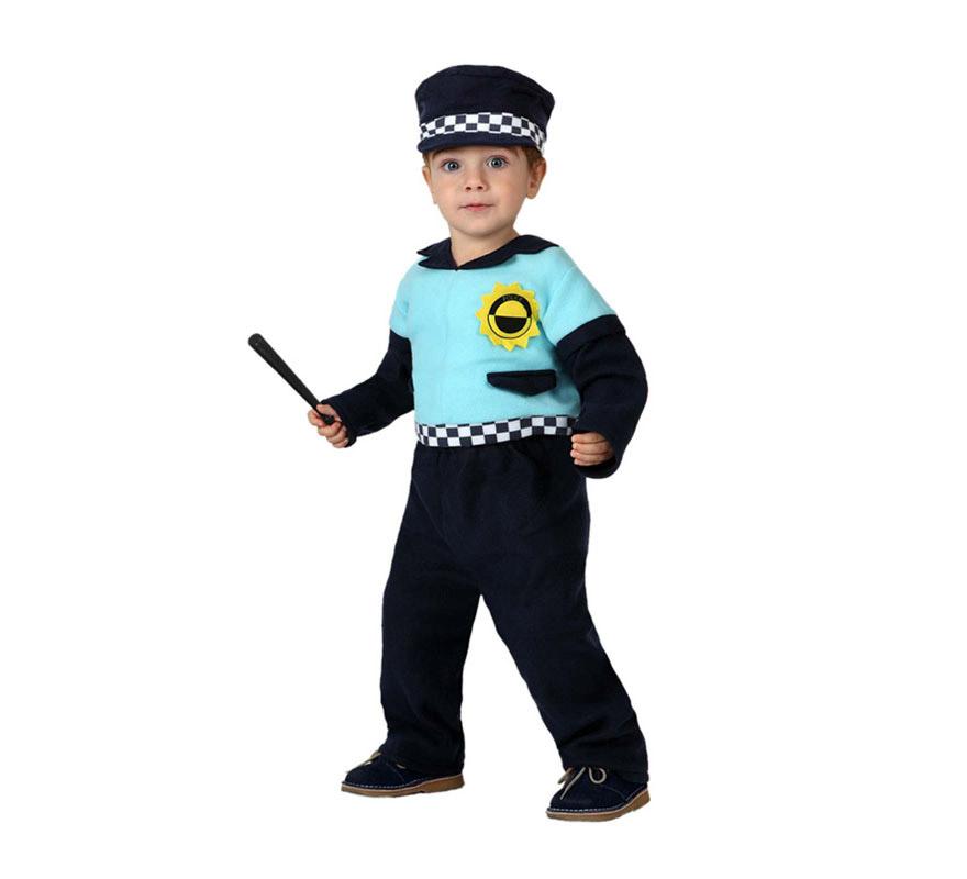 Disfraz para bebés de Policía de 6 a 12 meses. Incluye pantalón, gorra y camiseta. Porra NO incluida, podrás encontrar algunas en la sección de Accesorios.