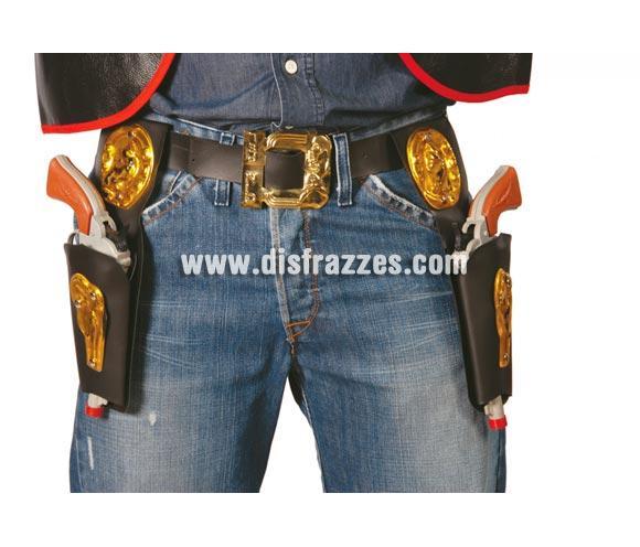 Cinturón 2 Cartucheras 27 cms. Pistolas NO incluidas, podrás verlas en la sección de Complementos - Armas. El complemento perfecto si te quieres disfrazar de Vaquero o Pistolero del lejano Oeste.