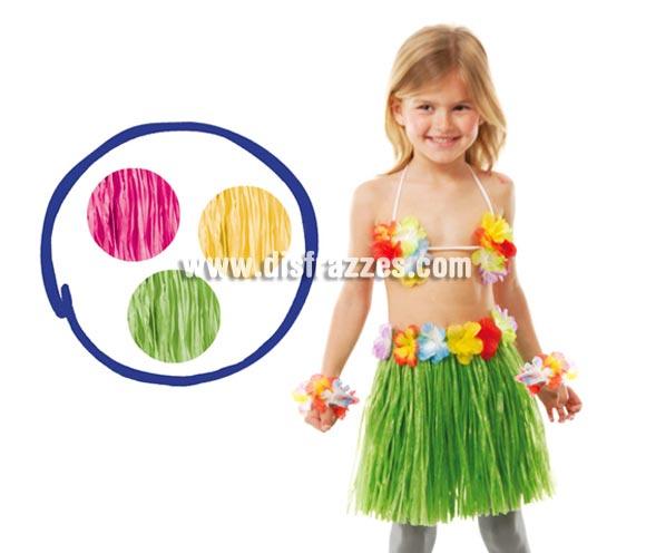 Conjunto Hawaiano infantil. Incluye: sujetador, muñequeras y falda. La falda está disponible en varios colores, precio por unidad.
