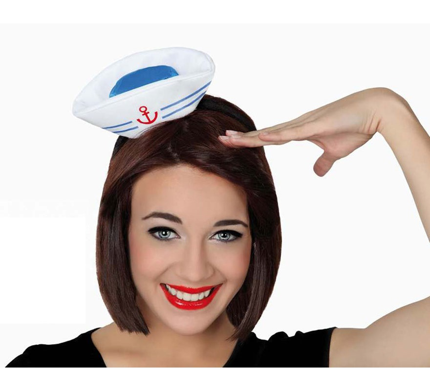 Mini Sombrero de Marinera con diadema o tocado Marinero. Ideal para Despedidas de Soltera.
