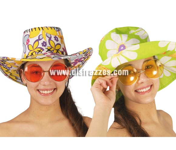 Gafas Hippie grandes. Talla universal. Disponible en 4 colores surtidos, precio por unidad, se venden por separado.