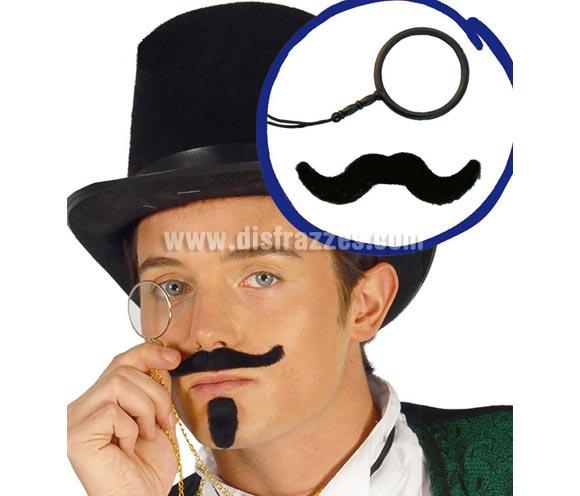 Set Monóculo con bigote para disfraces de Sherlock Holmes, Banquero del Oeste, Época, etc. etc. El monóculo es de color negro, en la imagen aparece de color dorado, pero son de color negro.