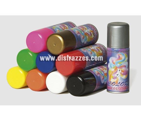 Spray Laca Fluorescente para el cabello de color negro. Artículo de Maquillaje ideal para caracterizarte en Carnaval.