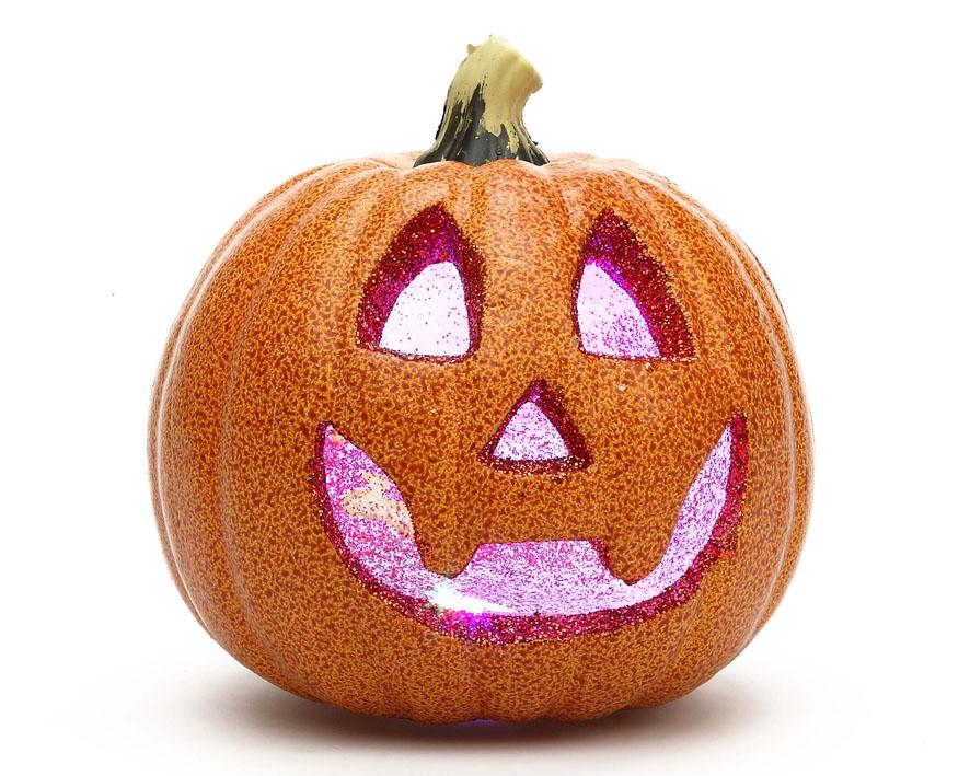 Calabaza con luz de 11x10 cm de corcho decorativa para Halloween.