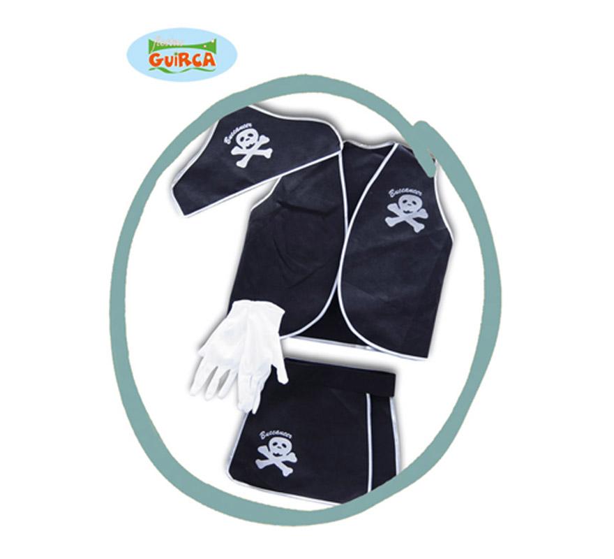 Conjunto Pirata o Bucanero para niños de 4 años. Incluye gorro, chaleco, guantes y zahones.