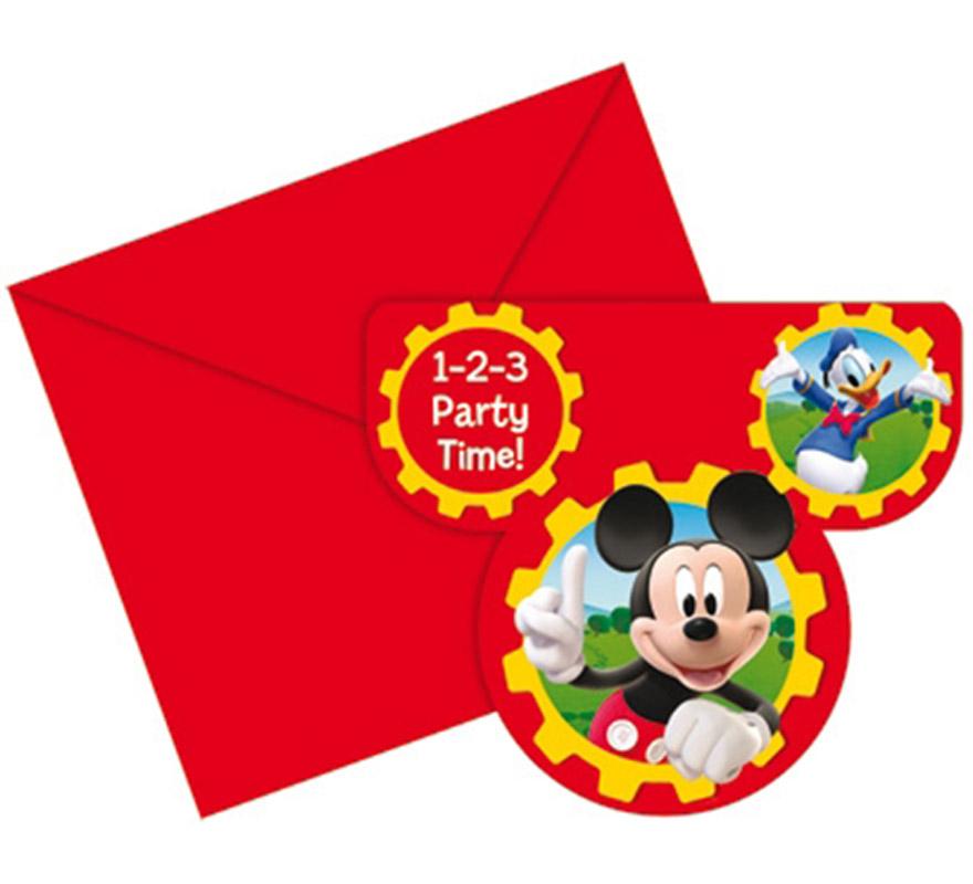 Bolsa de 6 invitaciones Mickey Club House.