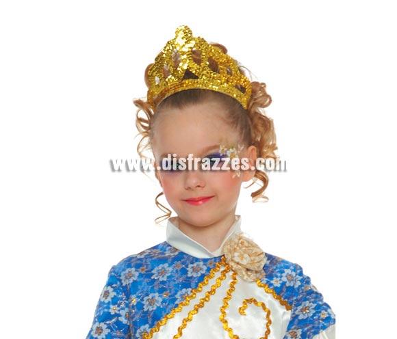 Diadema o Tiara Oro lentejuelas perfecta para disfraces de Reina o Princesa.