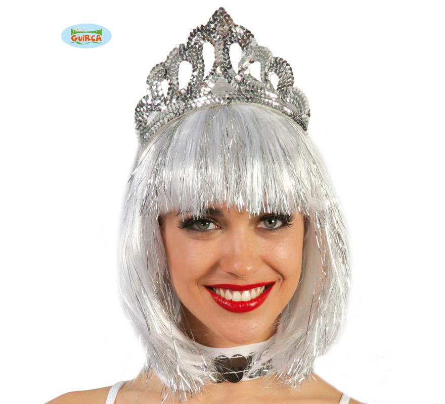Diadema Plata lentejuelas, perfecta para disfraces de Reina o Princesa.