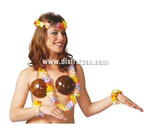 Conjunto Hawaiano. Incluye collar, muñequeras y corona.