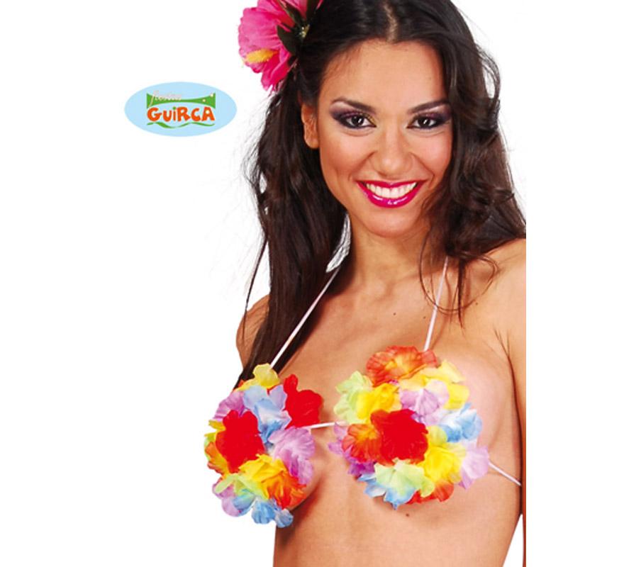 Sujetador flores perfecto como complemento de los disfraces de Hawaiana.