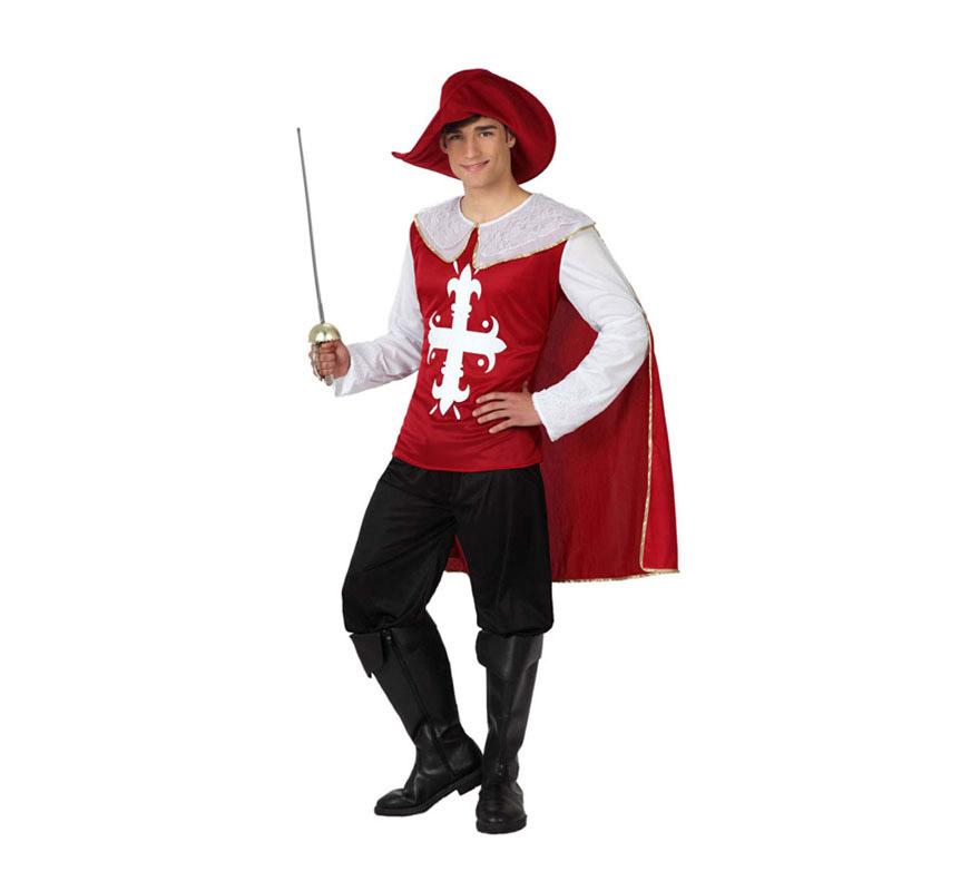 Disfraz barato de Mosquetero Granate para hombre talla M-L