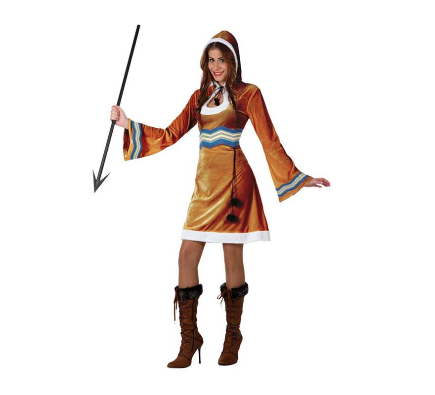 Disfraz de Esquimal para chicas. Talla 1 ó talla S = 34/38 para chicas delgadas y adolescentes. Incluye vestido con gorro. Lanza y botas NO incluidas.