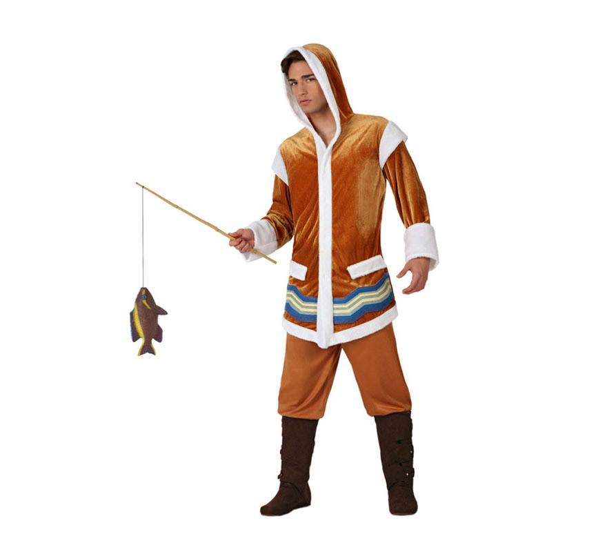 Disfraz de Esquimal para hombre. Talla 3 ó talla XL = 54/58. Incluye disfraz SIN cubrebotas y SIN caña de pescar.
