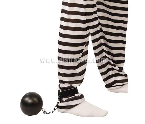 Bola presidiario o Bola de Preso. Bola de Prisionero ideal como complemento. También sirve como complemento de Halloween para un disfraz por ejemplo de Fantasma, o como Decoración de Halloween.