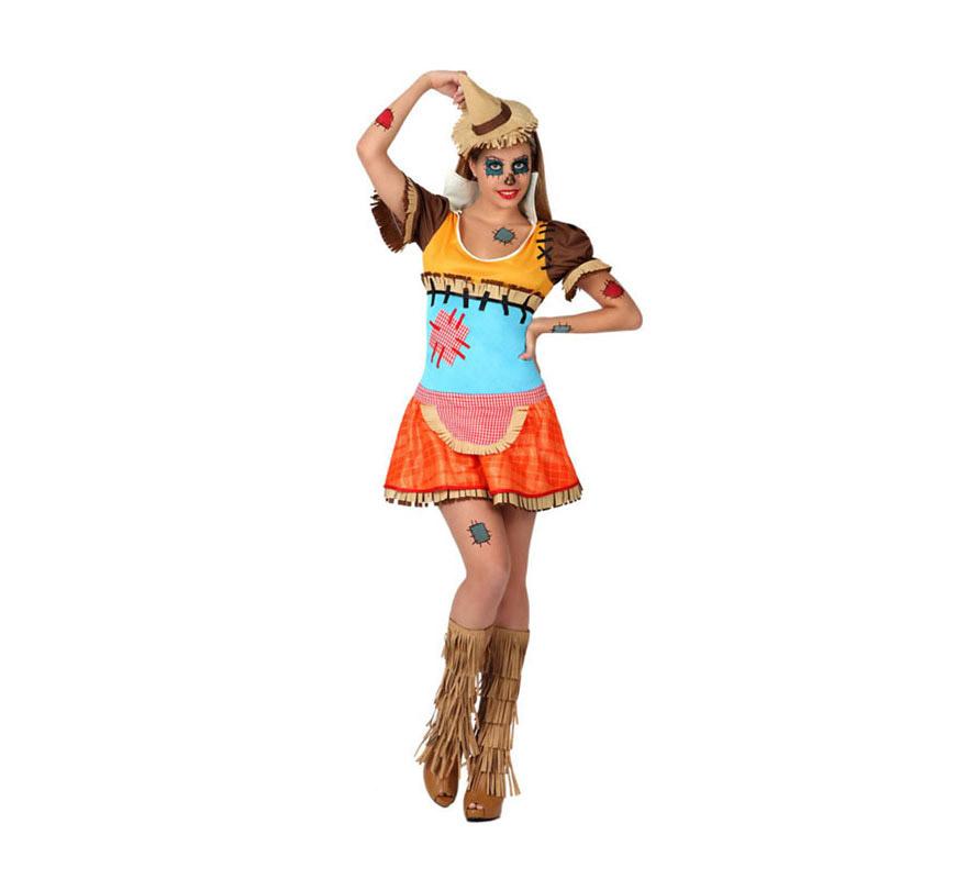 Disfraz de Espantapájaros Sexy para chicas. Talla 1 ó talla S = 34/38 para chicas delgadas y adolescentes. Incluye vestido y gorro. Perfecto para disfrazarse de la película El Mago de Oz junto con los demás personajes.