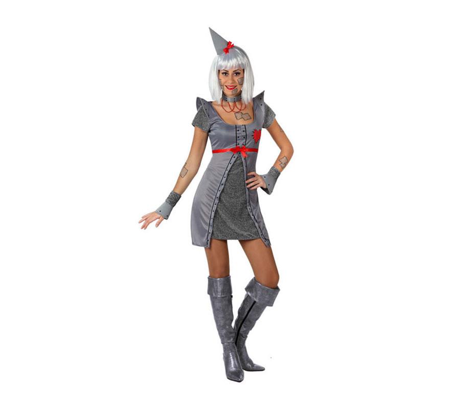Disfraz de Mujer de Hojalata con corazón. Talla 3 o talla XL 44/48. Incluye disfraz completo SIN botas y SIN peluca. La peluca la podrás ver en la sección de Pelucas. Original disfraz para convertirte en el fantástico personaje del Mago de Oz.