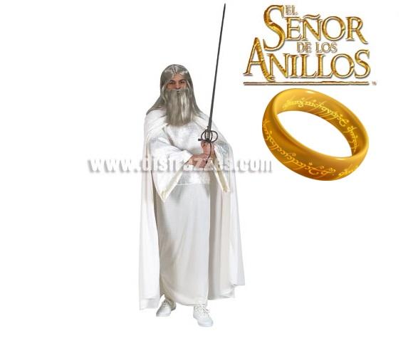 Disfraz de Gandalf El Blanco adulto para Halloween o para Carnaval. Talla estándar. Incluye túnica, capa y cinturón. Disfraz con licencia de la Serie El Señor de los Anillos, el auténtico!!