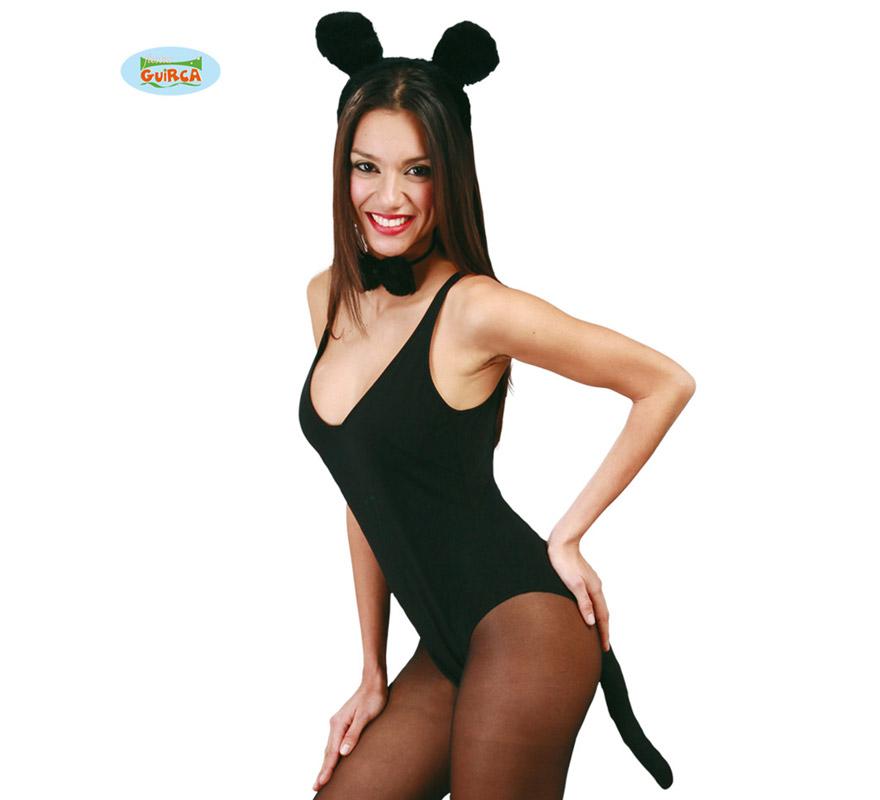 Conjunto de Ratón negro 3 piezas. Ideal para disfrazarse de Mickey y para Despedidas de Soltera.