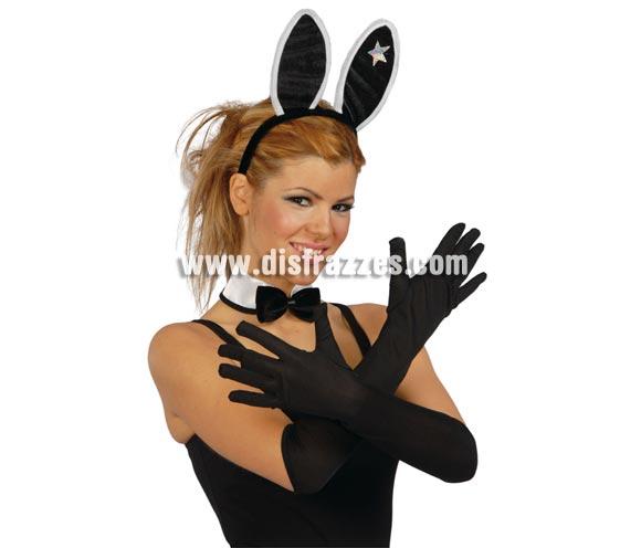Par de guantes negros 45 cm.