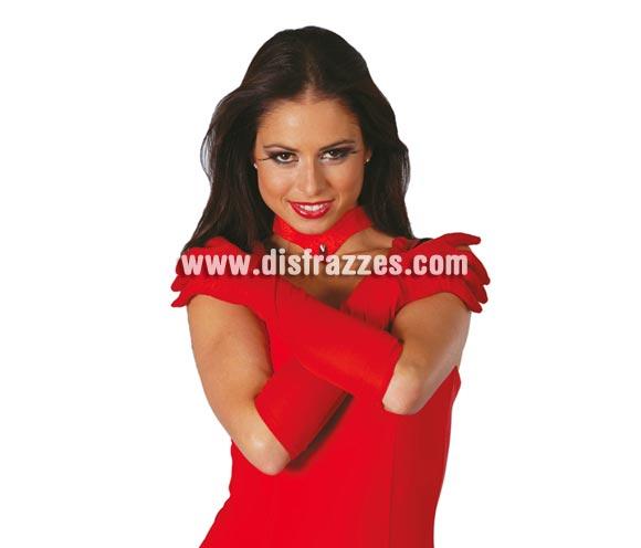 Par de guantes rojos largos 45 cm. Perfectos como complemento de tu disfraz de Diablesa o Demonia.