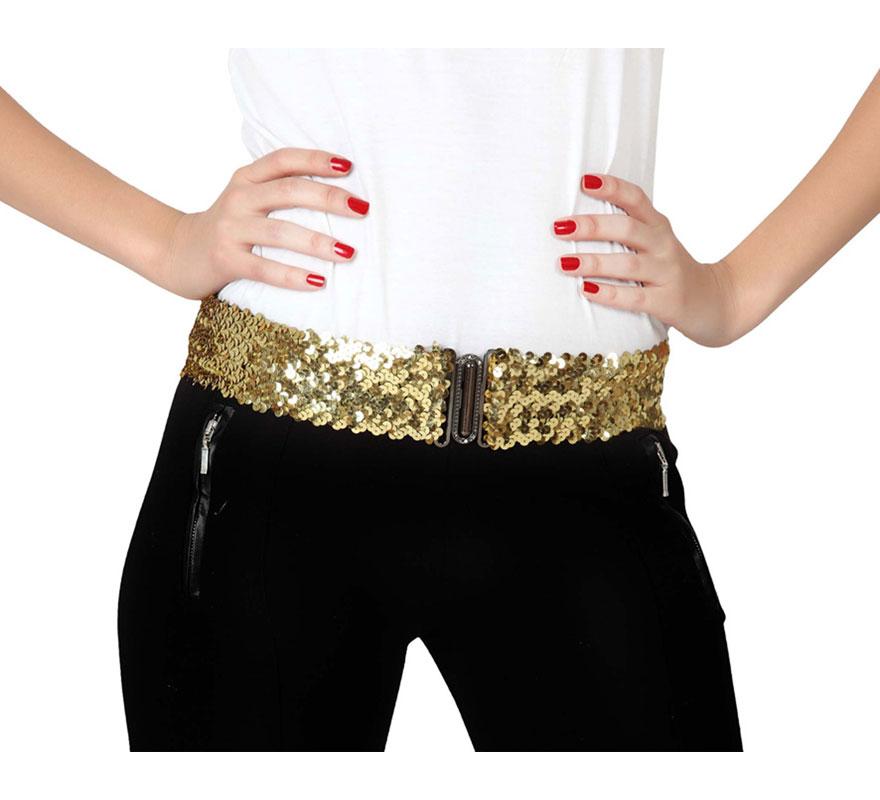 Cinturón elástico con lentejuelas de color oro.