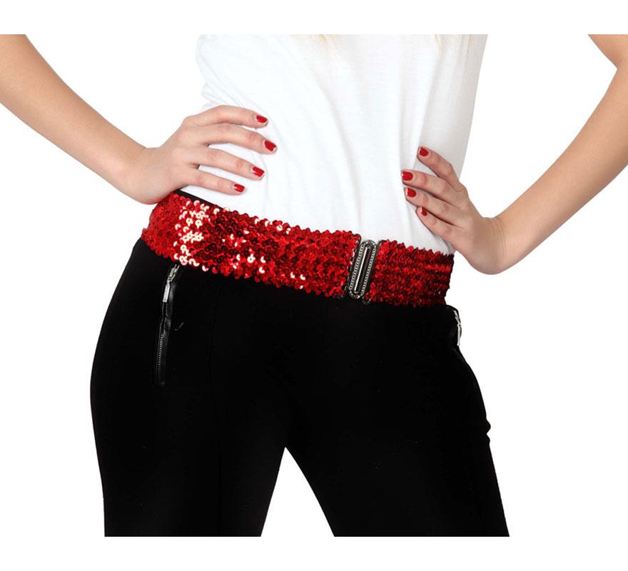 Cinturón elástico con lentejuelas de color rojo.