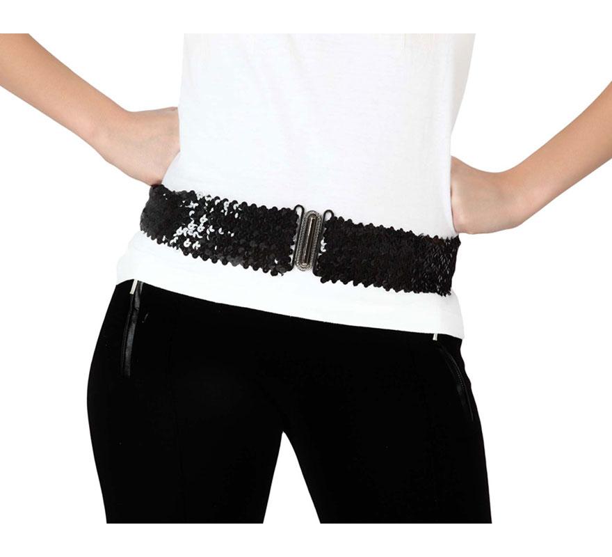 Cinturón elástico con lentejuelas de color negro