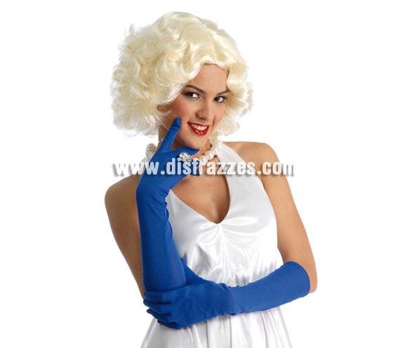 Par de guantes largos azules 45 cm. para Carnaval. También sirven como guantes para disfrazarse de Pitufo o Pitufina.