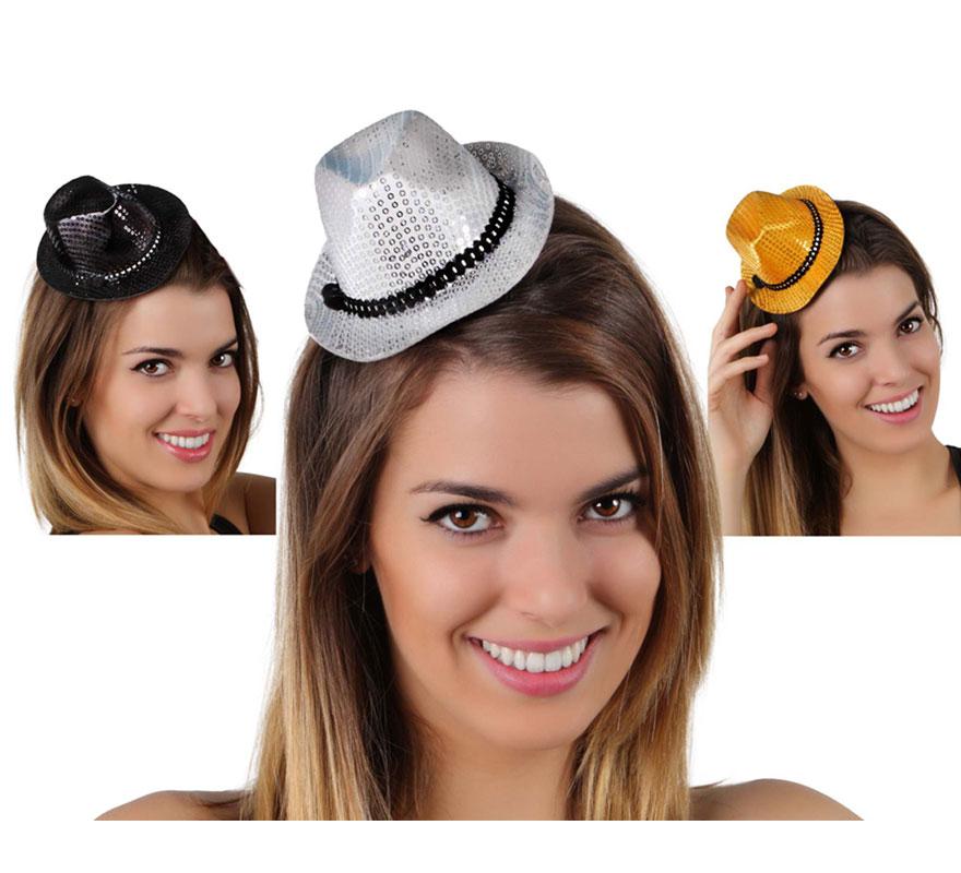 Mini Sombrero Gángster de lentejuelas con horquillas. Ideal para Despedidas de Soltera.
