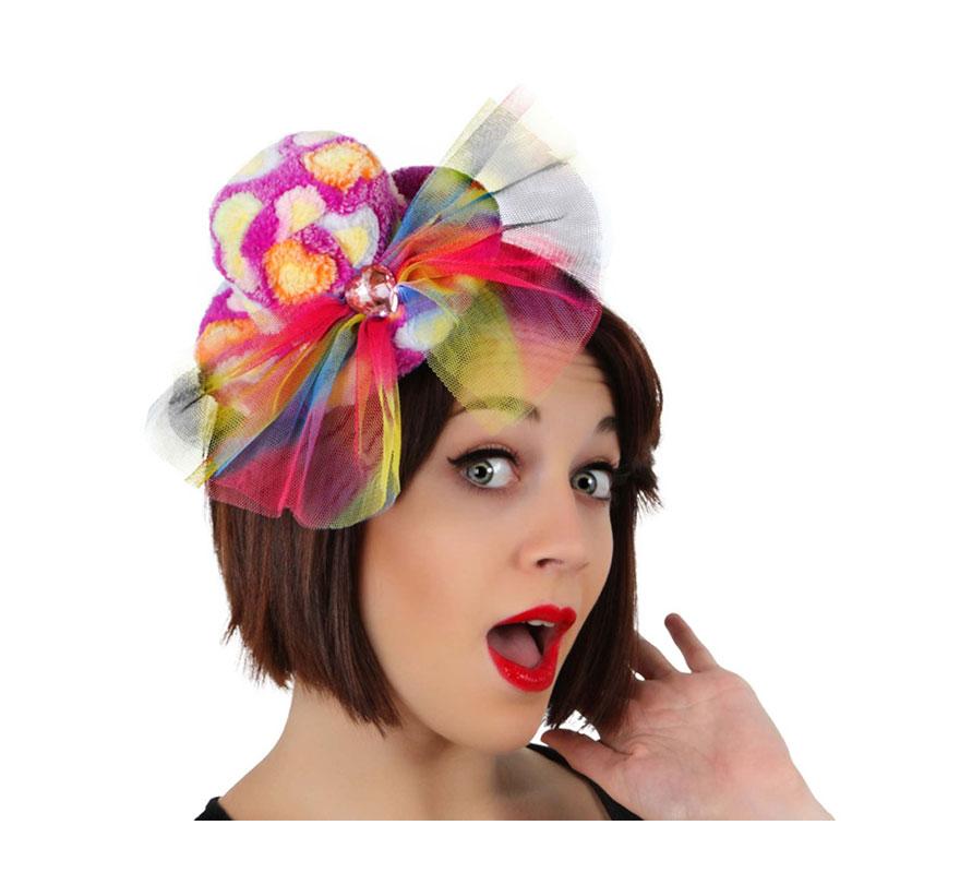 Mini Sombrero bombín de Payaso fantasía de tela con horquillas.