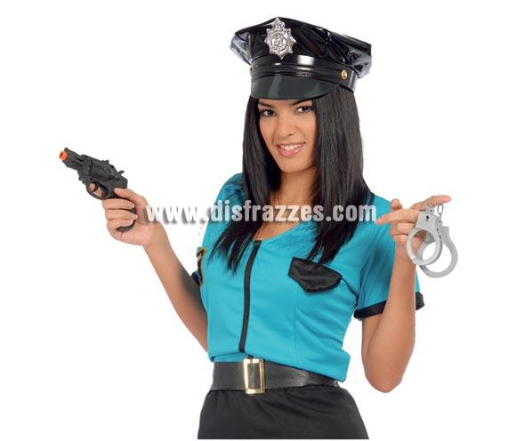 Set de pistola revolver con esposas. Ideal para los disfraces de Policía.
