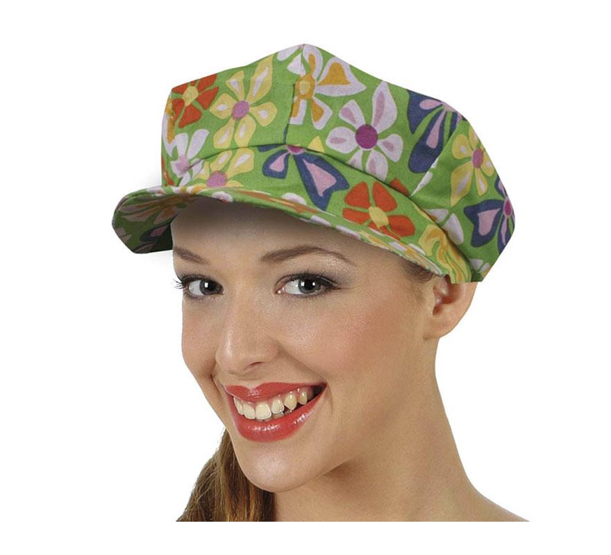 Gorra Hippie con flores de tela. También puede valer para los disfraces de Payaso.