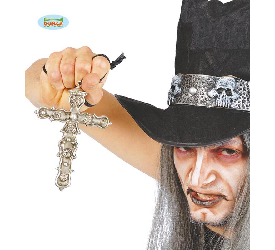 Colgante Cruz metálica de 16 cm. para Halloween.
