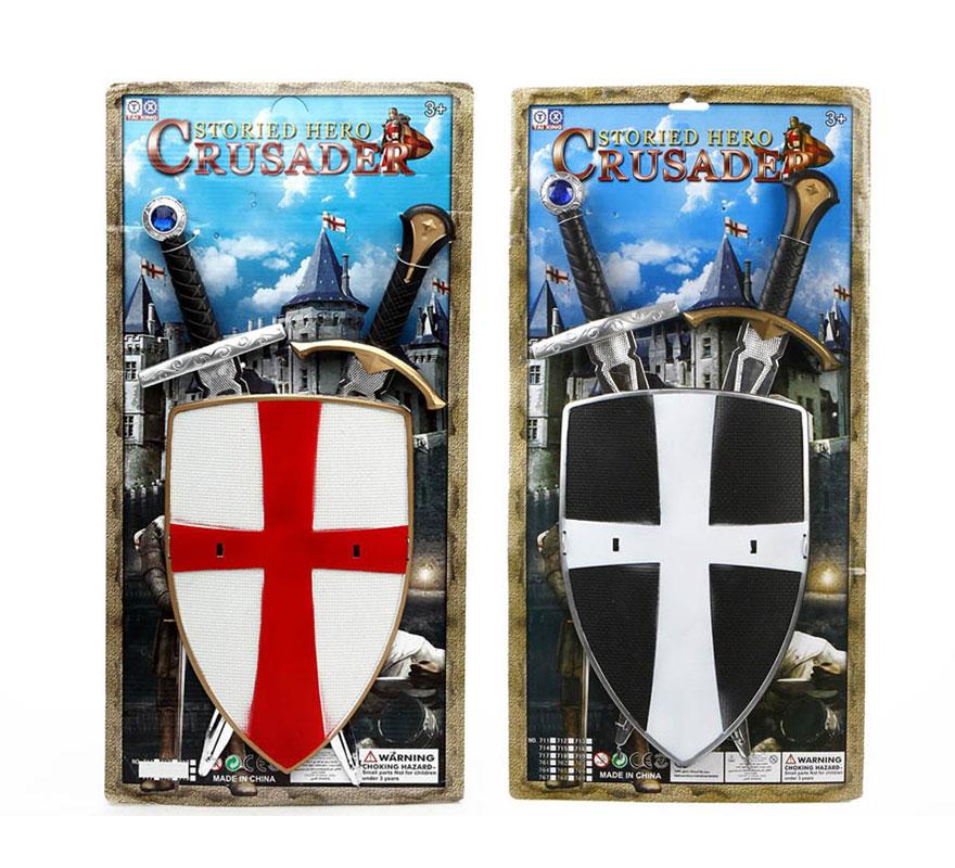 Set de 2 espadas Medievales con escudo infantil. Escudo 30x20cm y espada 49cm. Ideal como complemento para el disfraz de Caballero o Guerrero Medieval.