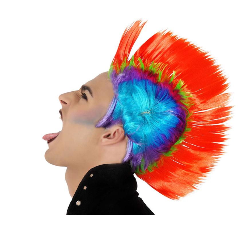 Peluca de Punky con cresta multicolor. Ideal para el disfraz de Rockero.