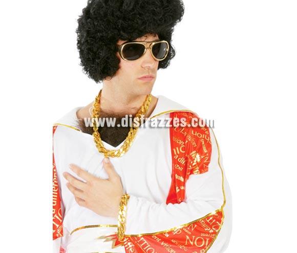 Pulsera imitación oro. Ideal para disfraz de Elvis Rey del Rock o Discotequero y por supuesto para disfrazarse de M.A. Barracus, el legendario negro del Equipo A.