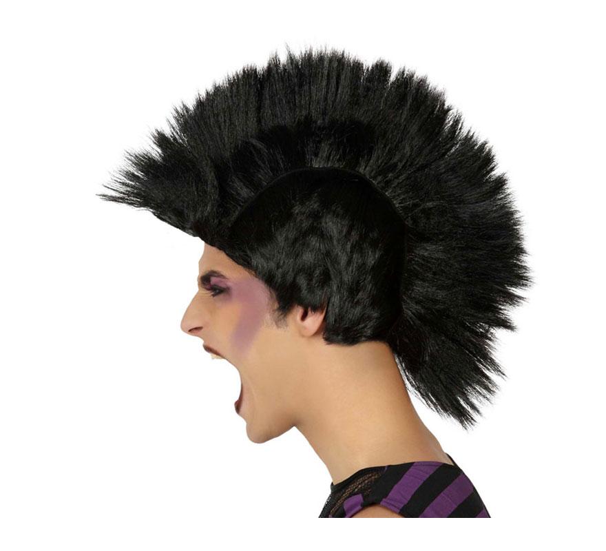 Peluca de Punky con cresta negra.