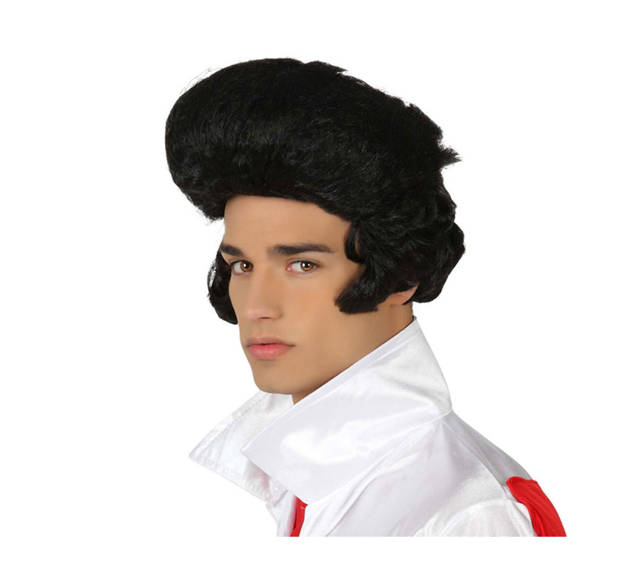 Peluca de Rockero con tupé negra. Ideal como peluca de Elvis.