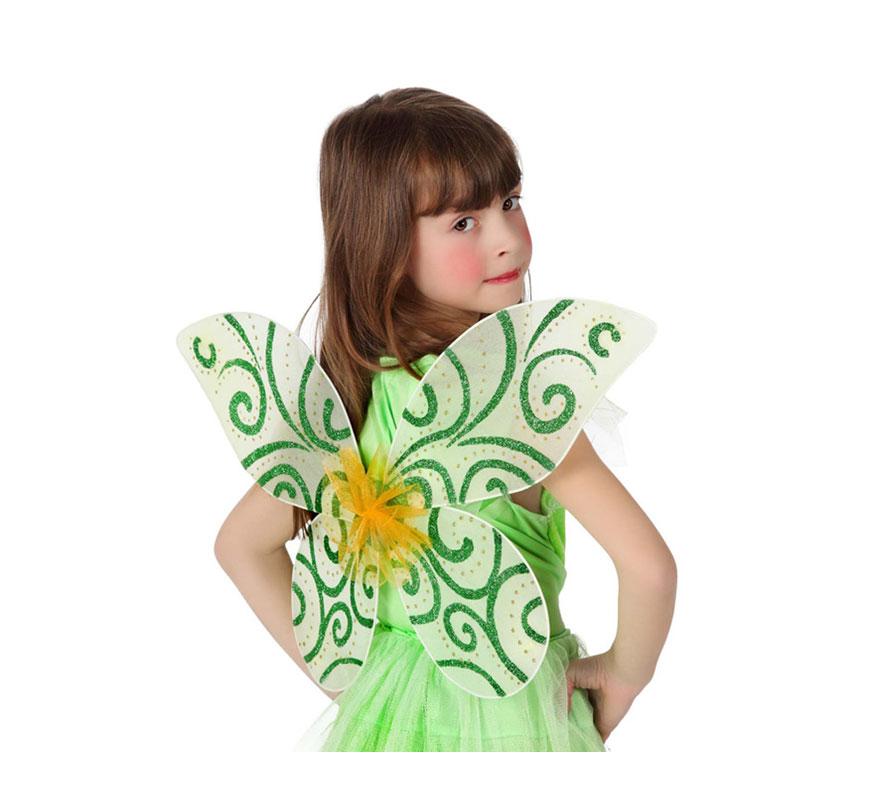 Alas de Mariposa verde de 40x40 cm.