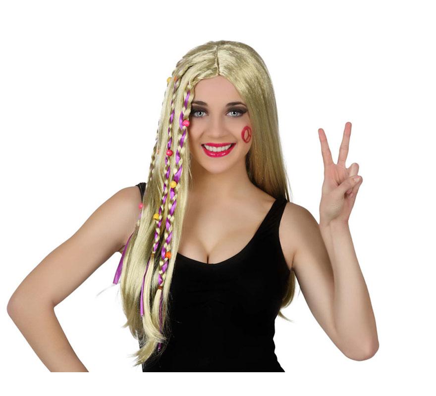 Peluca rubia larga de Hippie con trenzas