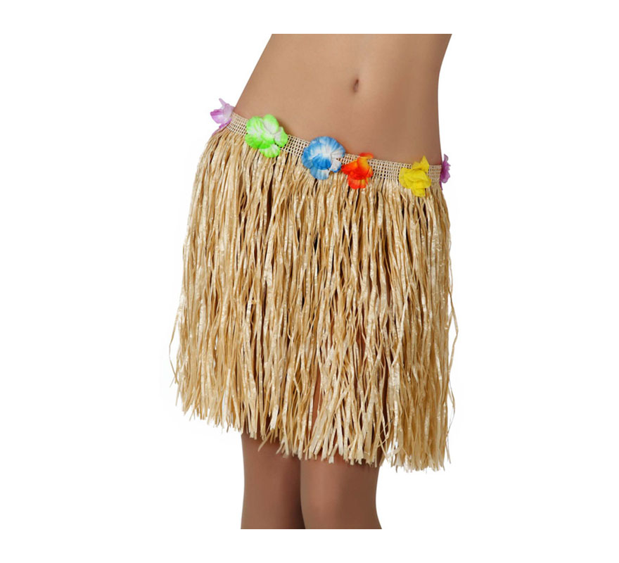 Falda de Hawaiana de color paja de 42 cm con flores.